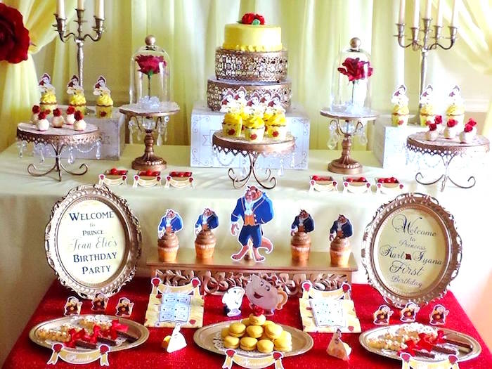 Elegant dessert table from a Beauty and the Beast 1st Birthday Party on Kara's Party Ideas | KarasPartyIdeas.com (8)