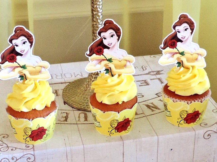 Belle cupcakes from a Beauty and the Beast 1st Birthday Party on Kara's Party Ideas | KarasPartyIdeas.com (6)