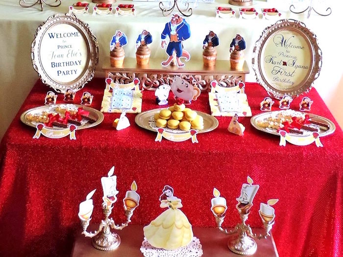 Beast themed dessert table from a Beauty and the Beast 1st Birthday Party on Kara's Party Ideas | KarasPartyIdeas.com (5)