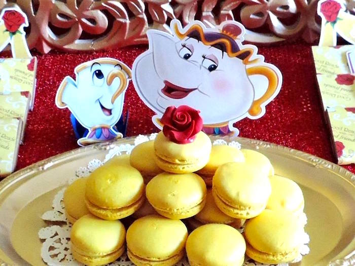 Belle-inspired macarons from a Beauty and the Beast 1st Birthday Party on Kara's Party Ideas | KarasPartyIdeas.com (33)