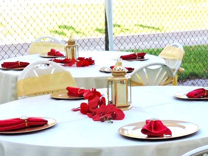Guest tables from a Beauty and the Beast 1st Birthday Party on Kara's Party Ideas | KarasPartyIdeas.com (32)