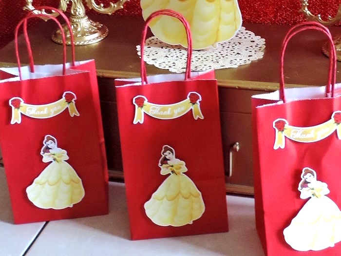 Belle favor bags from a Beauty and the Beast 1st Birthday Party on Kara's Party Ideas | KarasPartyIdeas.com (31)