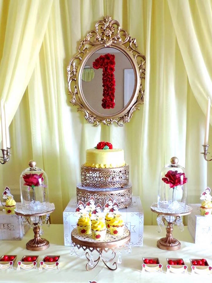Karas Party Ideas Charming Beauty And The Beast 1st Birthday Party
