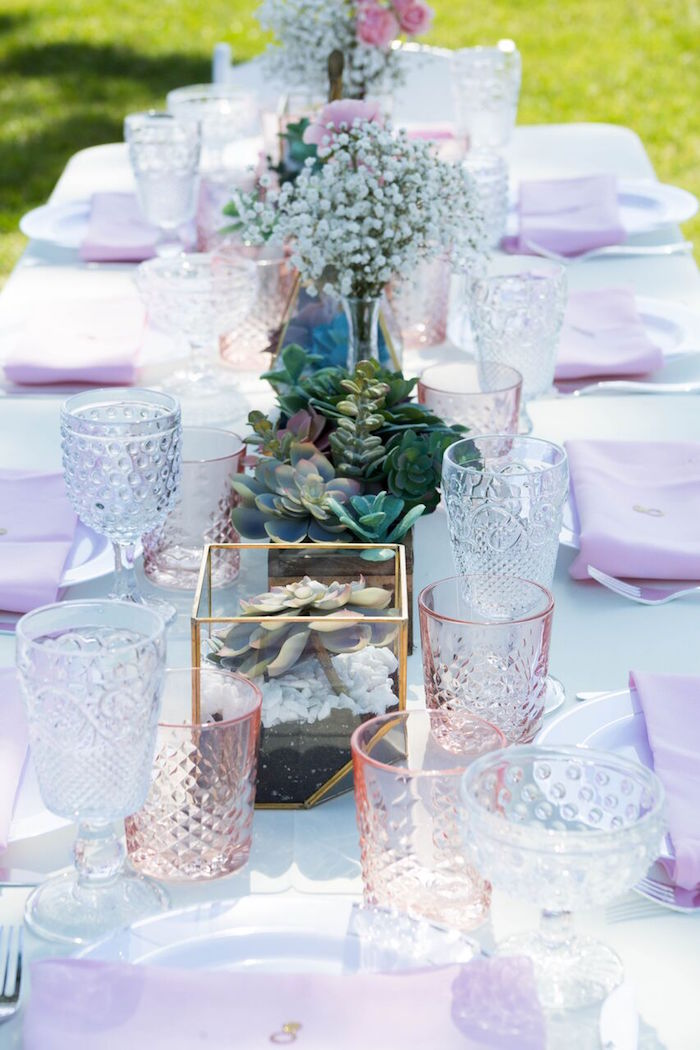 Crustal goblets + centerpieces from a Boho Rustic Chic Engagement Party on Kara's Party Ideas | KarasPartyIdeas.com (34)