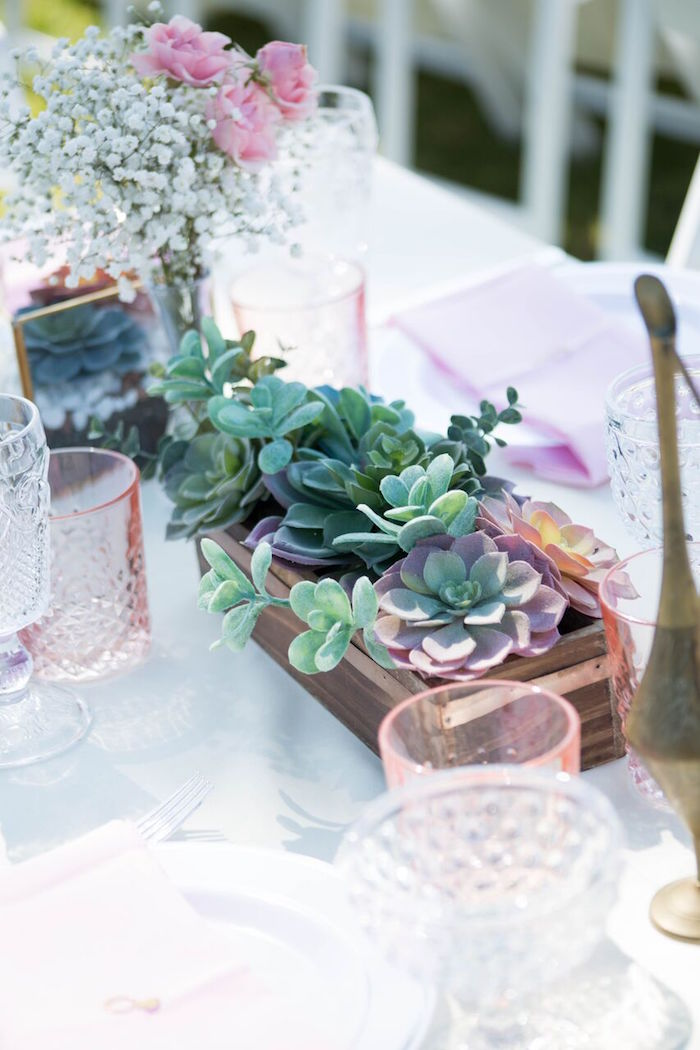Succulent box centerpiece from a Boho Rustic Chic Engagement Party on Kara's Party Ideas | KarasPartyIdeas.com (33)