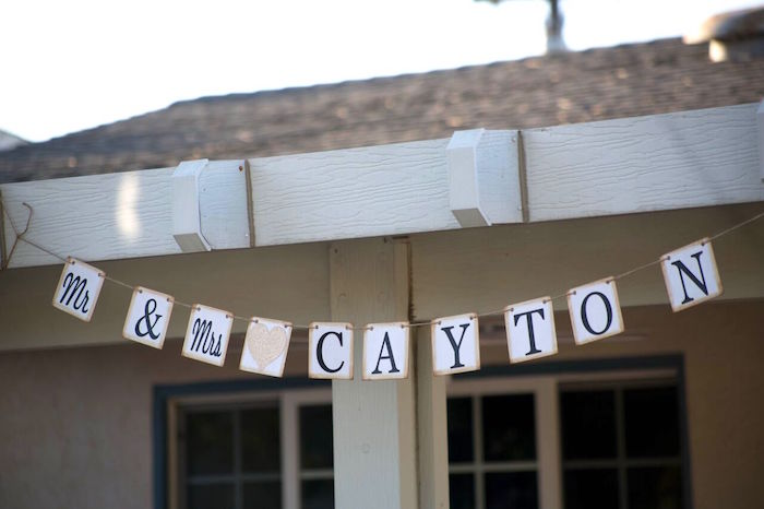 Mr. & Mrs. Banner from a Boho Rustic Chic Engagement Party on Kara's Party Ideas | KarasPartyIdeas.com (30)