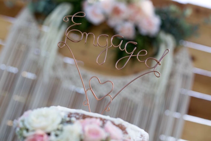 Wire cake topper from a Boho Rustic Chic Engagement Party on Kara's Party Ideas | KarasPartyIdeas.com (17)