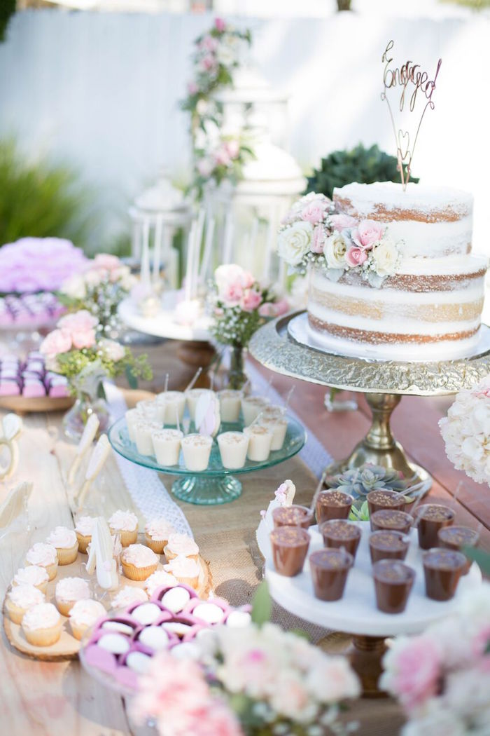Dessert table from a Boho Rustic Chic Engagement Party on Kara's Party Ideas | KarasPartyIdeas.com (13)