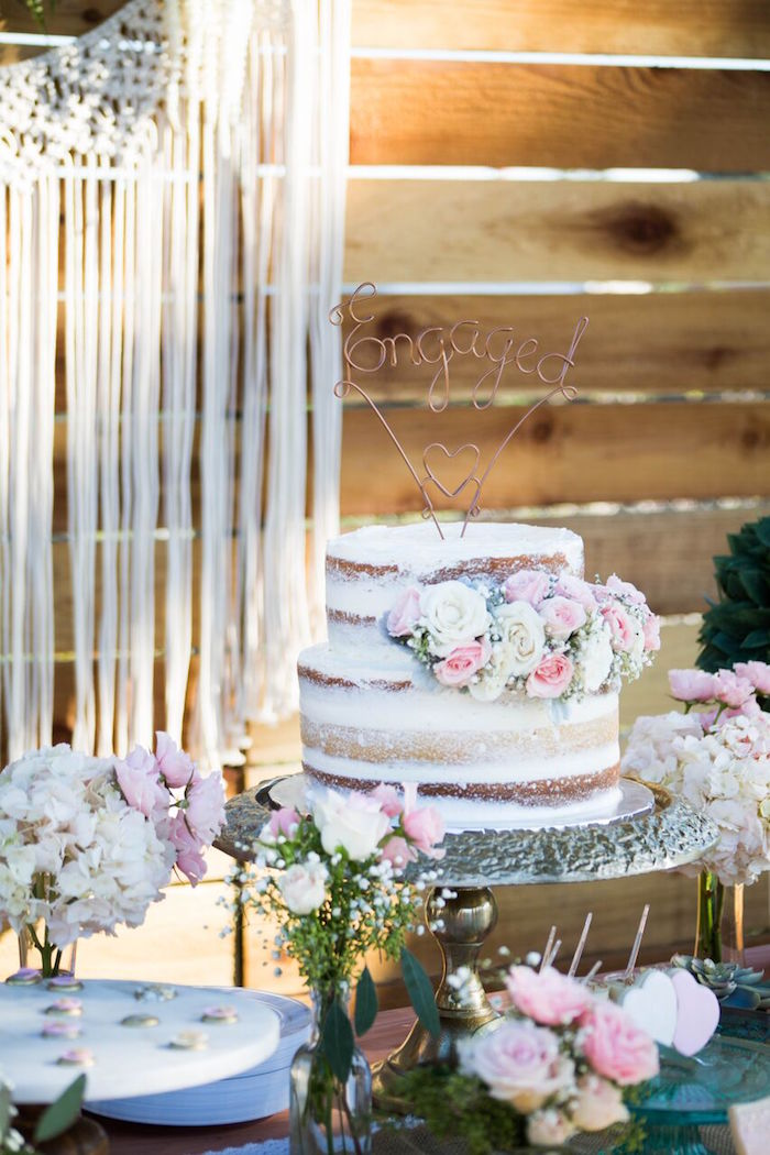 Semi-frosted cake from a Boho Rustic Chic Engagement Party on Kara's Party Ideas | KarasPartyIdeas.com (6)