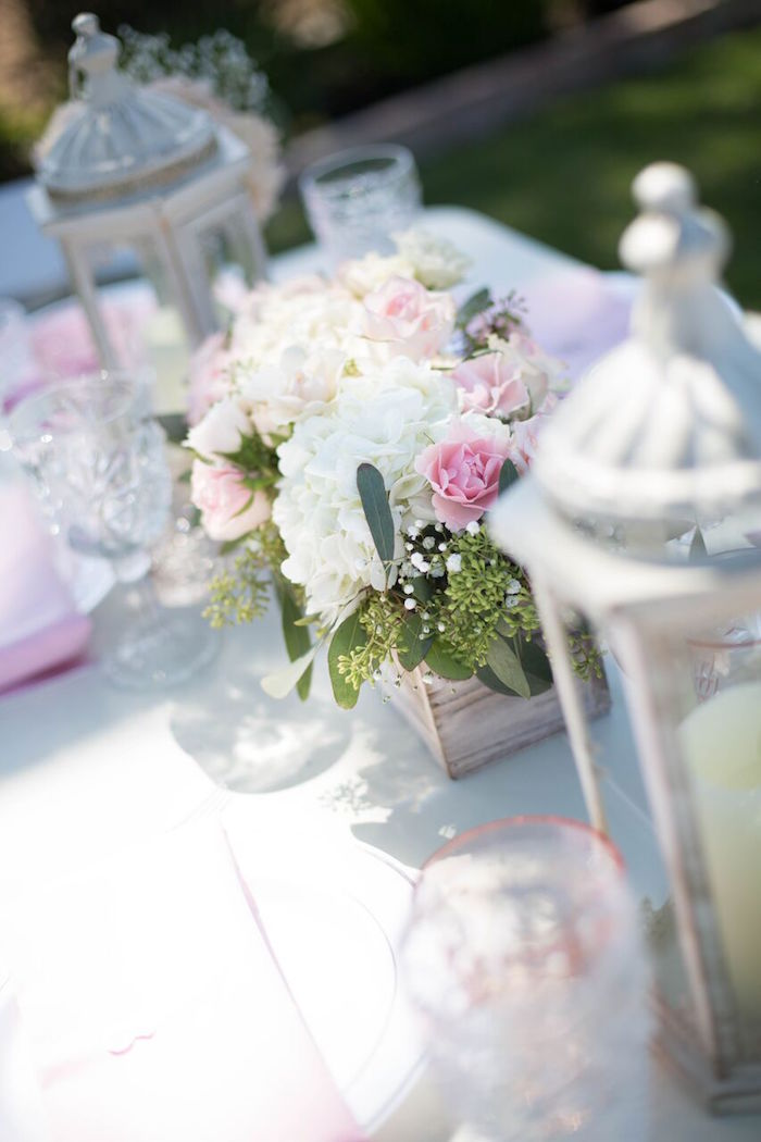 Bloom centerpiece from a Boho Rustic Chic Engagement Party on Kara's Party Ideas | KarasPartyIdeas.com (37)
