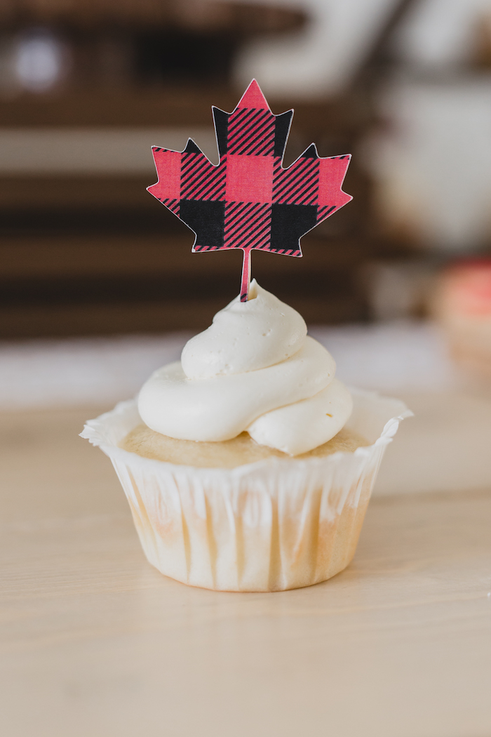 Cupcake with Maple Leaf topper from a Canada Day Celebration on Kara's Party Ideas | KarasPartyIdeas.com (23)