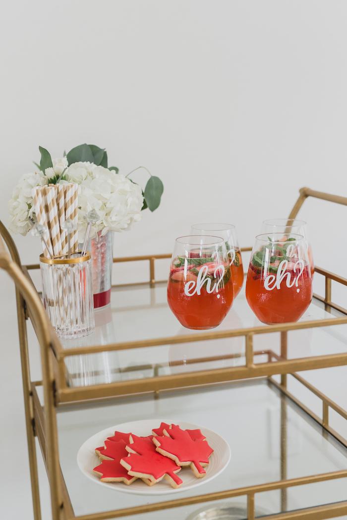 Drink cart from a Canada Day Celebration on Kara's Party Ideas | KarasPartyIdeas.com (13)