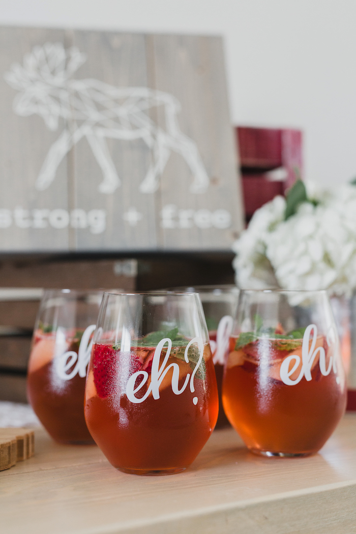 """""""Eh?"""" drink glasses from a Canada Day Celebration on Kara's Party Ideas 