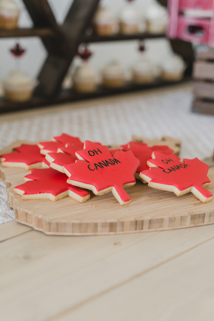 Maple leaf cookies from a Canada Day Celebration on Kara's Party Ideas | KarasPartyIdeas.com (27)
