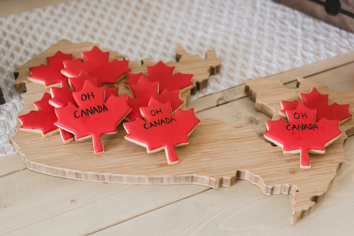 Canada cheeseboard filled with cookies from a Canada Day Celebration on Kara's Party Ideas | KarasPartyIdeas.com (26)