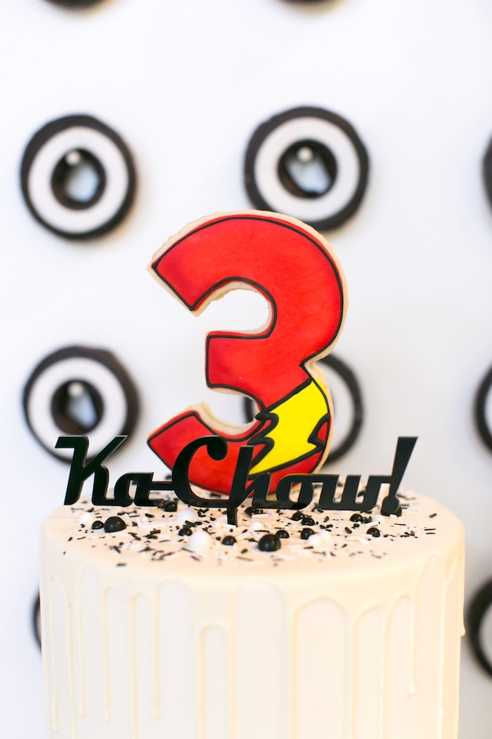 Cookie cake topper from a Cars 3 Birthday Party on Kara's Party Ideas | KarasPartyIdeas.com (12)