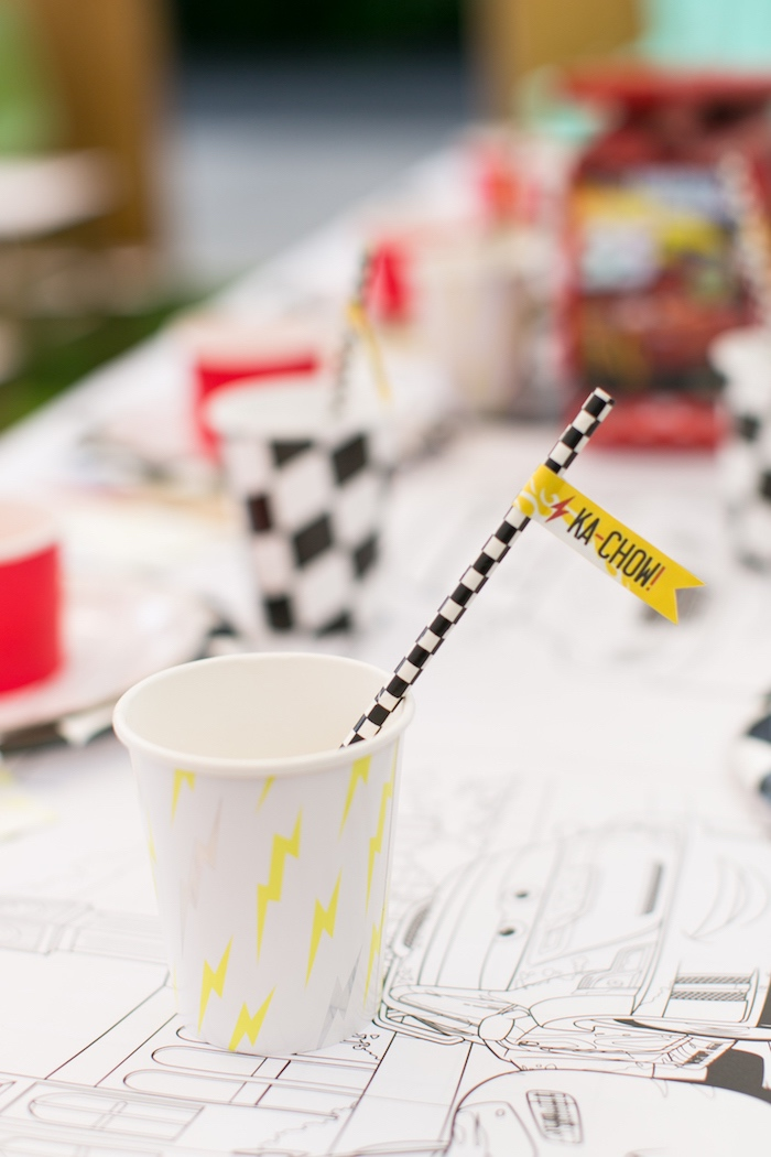 Lightning bolt cup from a Cars 3 Birthday Party on Kara's Party Ideas | KarasPartyIdeas.com (28)
