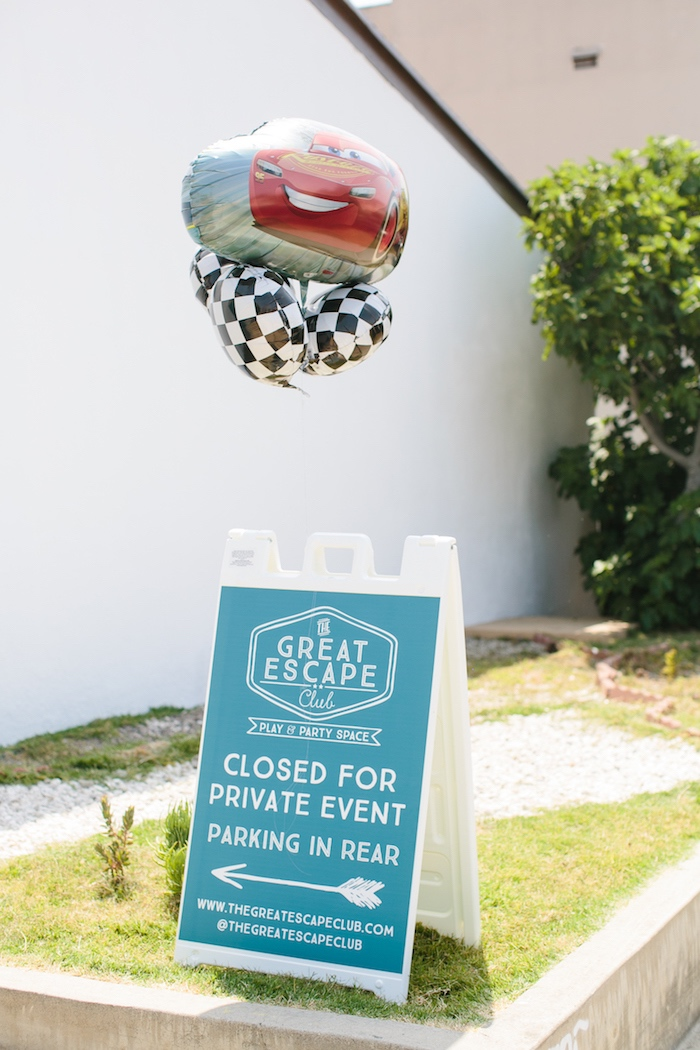 Sign tied with balloons from a Cars 3 Birthday Party on Kara's Party Ideas | KarasPartyIdeas.com (2)