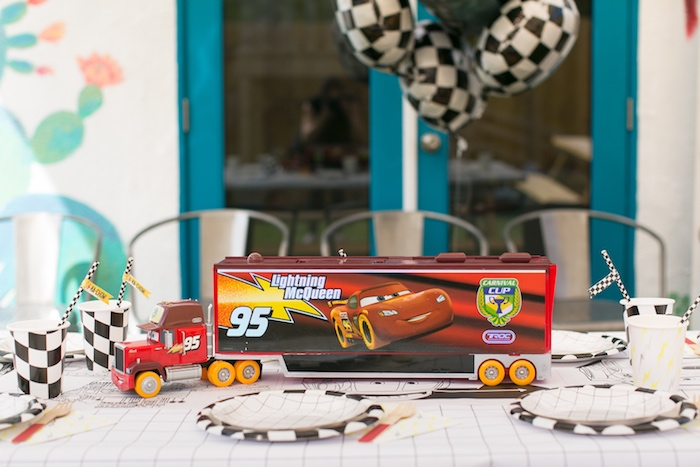 Lightning McQueen guest table from a Cars 3 Birthday Party on Kara's Party Ideas | KarasPartyIdeas.com (26)
