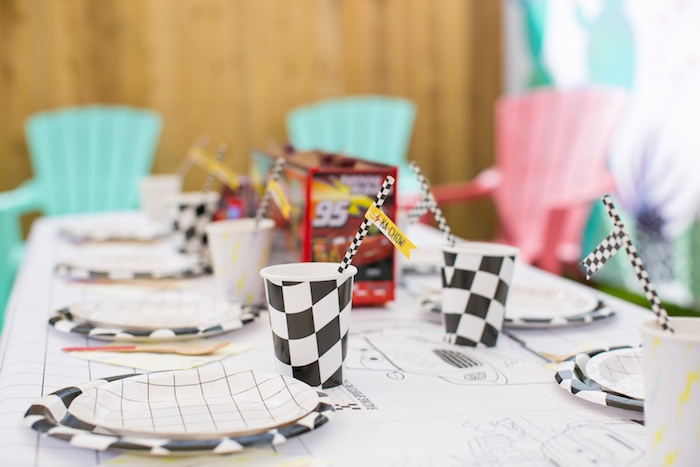 Guest table from a Cars 3 Birthday Party on Kara's Party Ideas | KarasPartyIdeas.com (25)