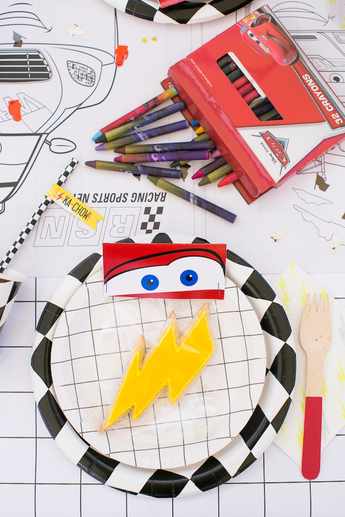 Lightning McQueen place setting from a Cars 3 Birthday Party on Kara's Party Ideas | KarasPartyIdeas.com (24)