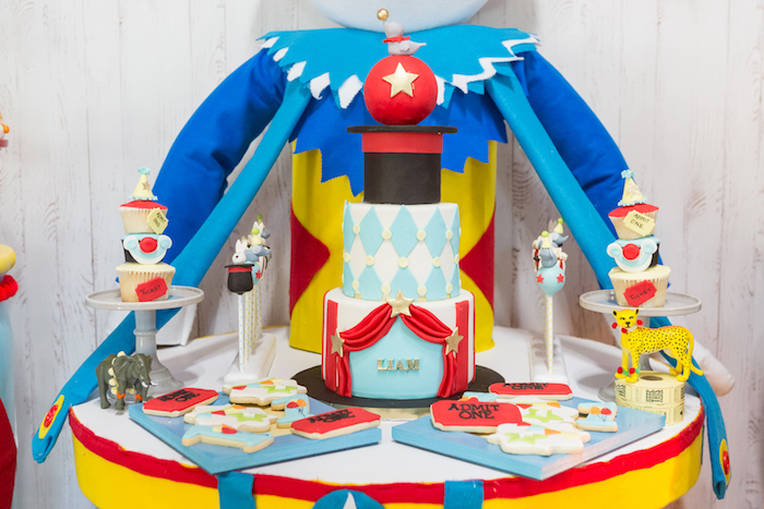 Cake table from a Circus Birthday Party on Kara's Party Ideas | KarasPartyIdeas.com (25)