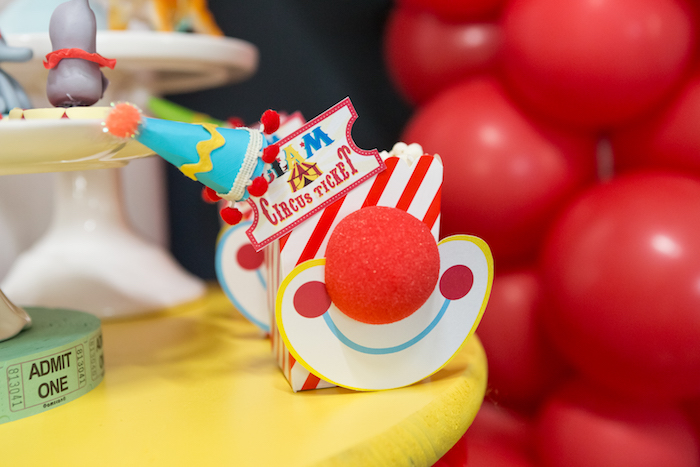 Clown popcorn boxes from a Circus Birthday Party on Kara's Party Ideas | KarasPartyIdeas.com (22)