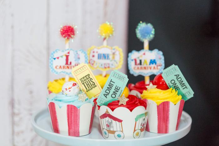 Circus cupcakes from a Circus Birthday Party on Kara's Party Ideas | KarasPartyIdeas.com (21)