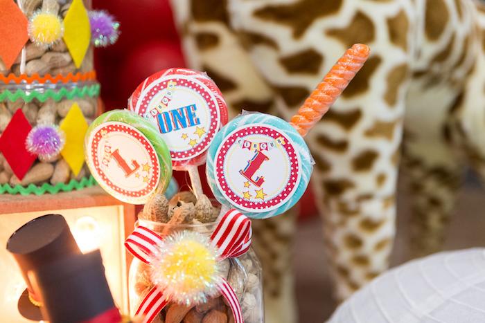 Circus lollipops from a Circus Birthday Party on Kara's Party Ideas | KarasPartyIdeas.com (18)