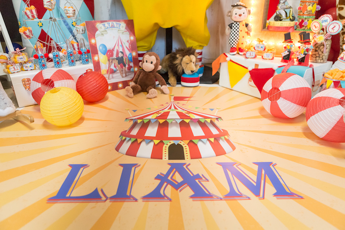 Custom name big-top flooring from a Circus Birthday Party on Kara's Party Ideas | KarasPartyIdeas.com (13)