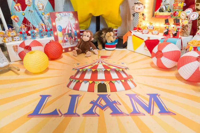 Custom name big-top flooring from a Circus Birthday Party on Kara's Party Ideas | KarasPartyIdeas.com (13)