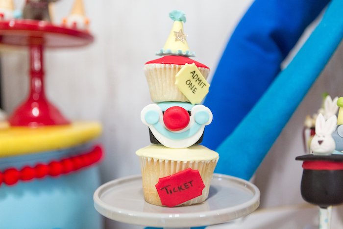 Stacked clown cupcakes from a Circus Birthday Party on Kara's Party Ideas | KarasPartyIdeas.com (33)