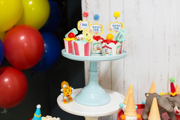Cupcakes from a Circus Birthday Party on Kara's Party Ideas | KarasPartyIdeas.com (29)