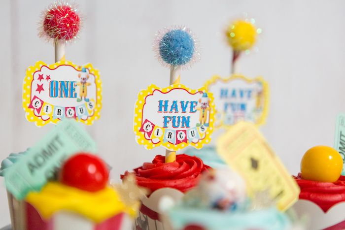Pom cupcake toppers from a Circus Birthday Party on Kara's Party Ideas | KarasPartyIdeas.com (28)