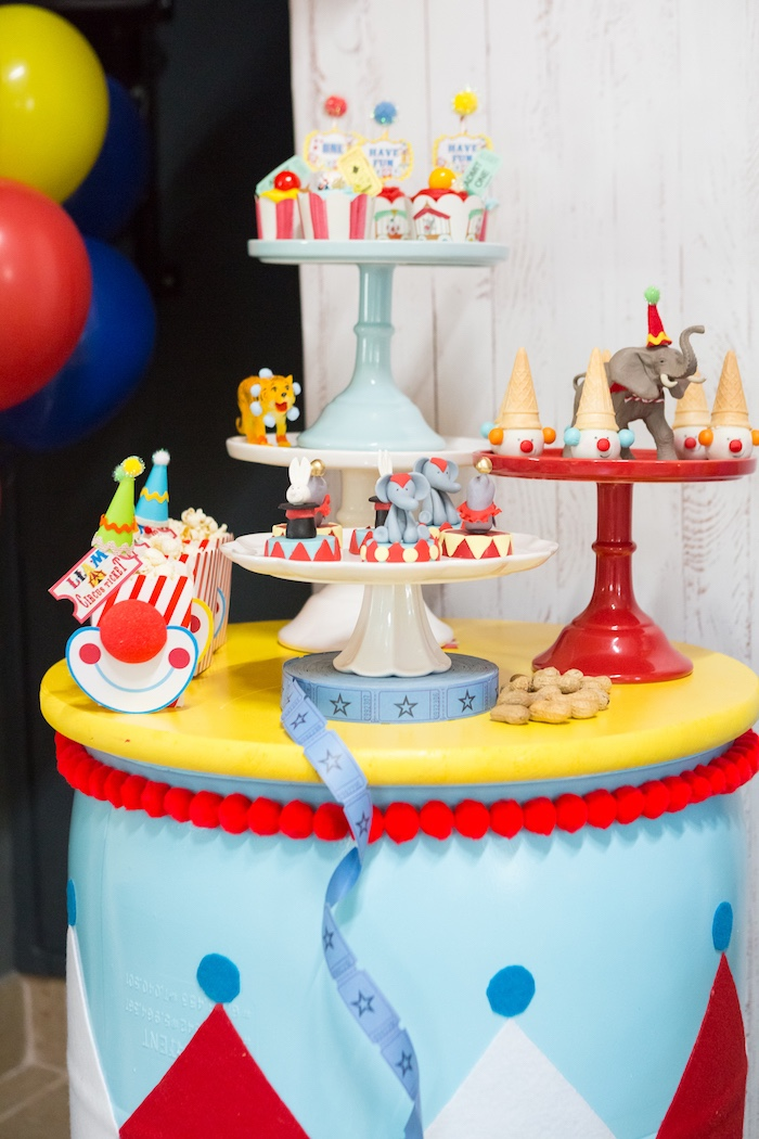 Dessert + snack table from a Circus Birthday Party on Kara's Party Ideas | KarasPartyIdeas.com (26)