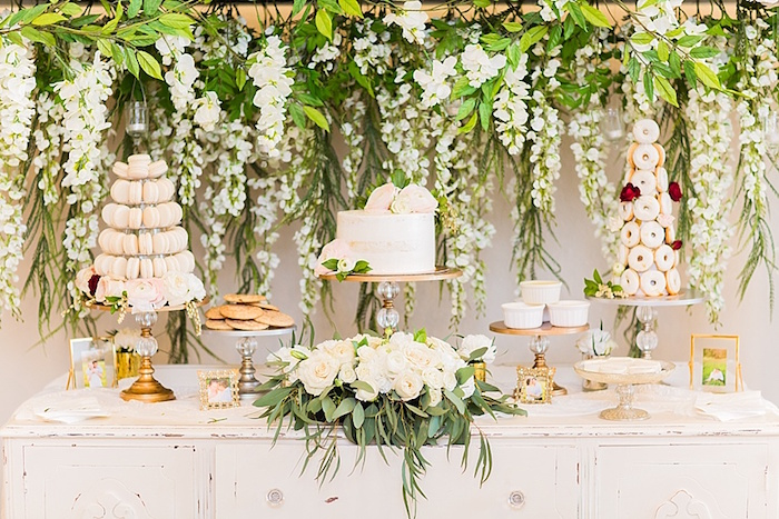 Floral dessert buffet from an Elegant Spring Anniversary Party on Kara's Party Ideas | KarasPartyIdeas.com (25)