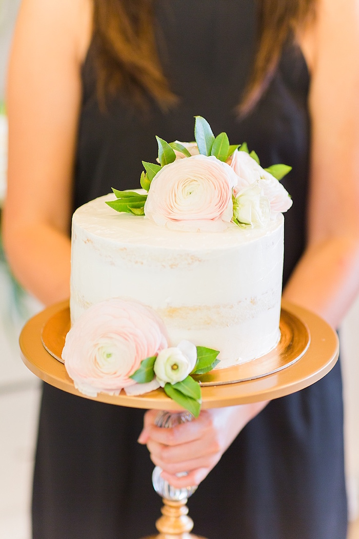 Semi-frosted cake from an Elegant Spring Anniversary Party on Kara's Party Ideas | KarasPartyIdeas.com (19)