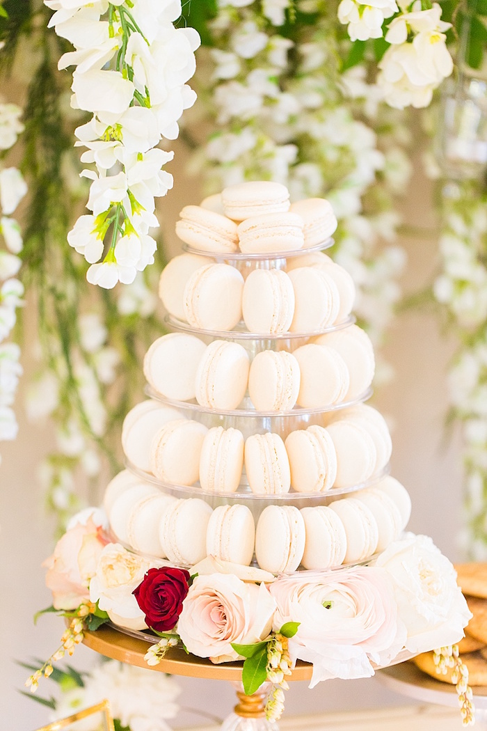Macaron tower from an Elegant Spring Anniversary Party on Kara's Party Ideas | KarasPartyIdeas.com (14)