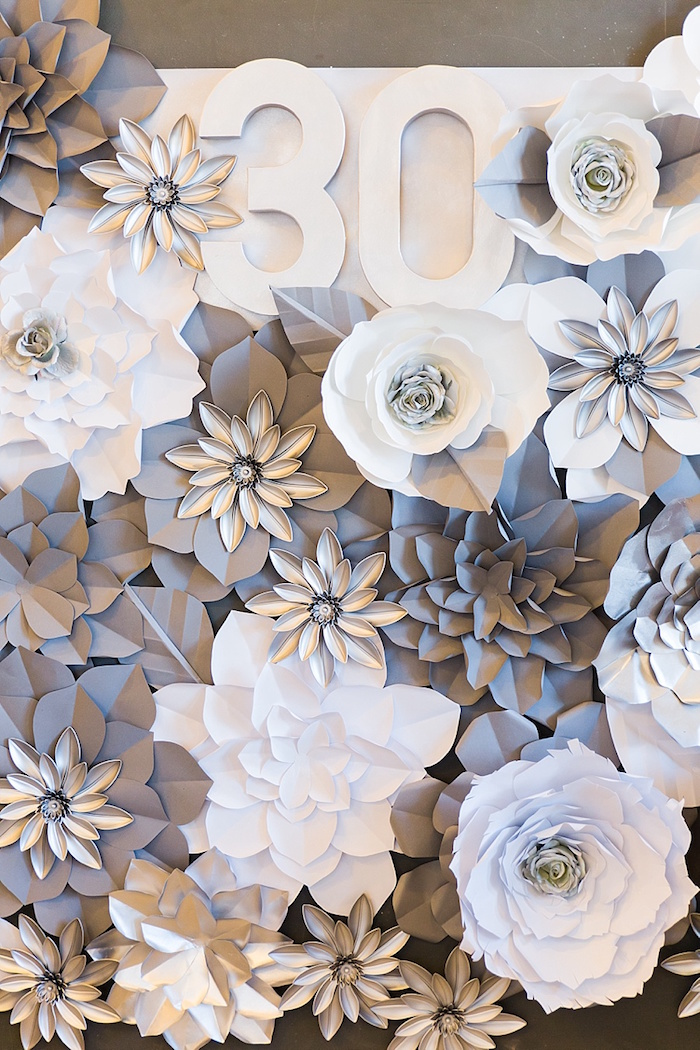 Paper flower backdrop from an Elegant Spring Anniversary Party on Kara's Party Ideas | KarasPartyIdeas.com (10)