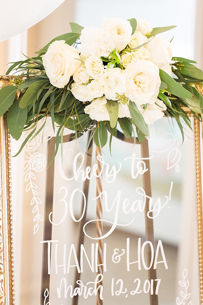 Transparent party sign adorned with blooms from an Elegant Spring Anniversary Party on Kara's Party Ideas | KarasPartyIdeas.com (33)