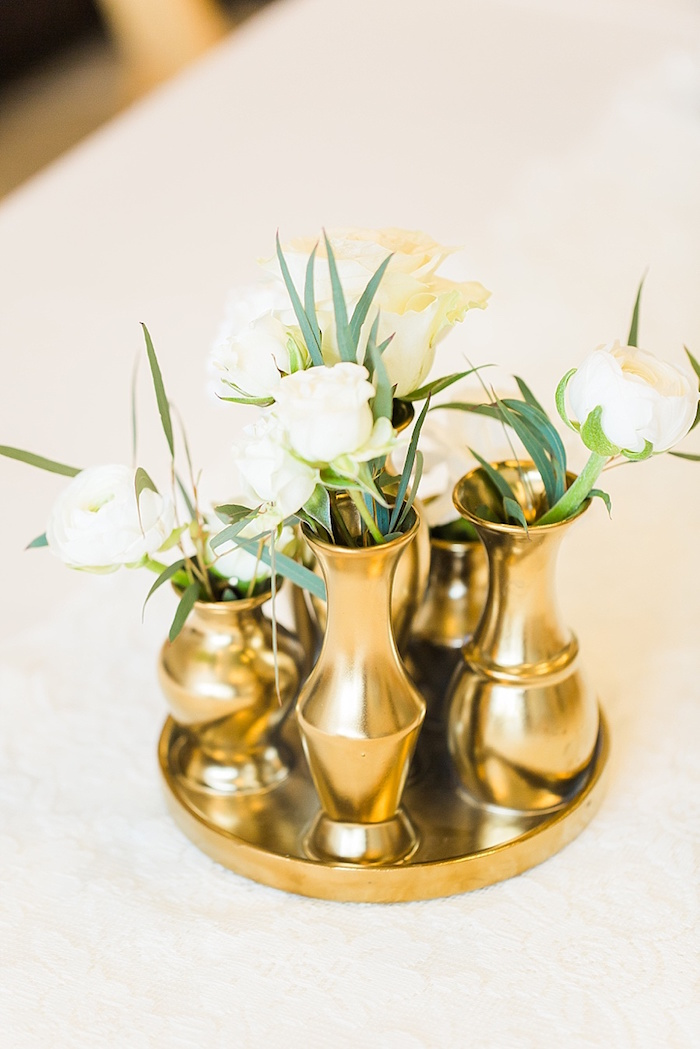 White blooms in gold vases from an Elegant Spring Anniversary Party on Kara's Party Ideas | KarasPartyIdeas.com (31)