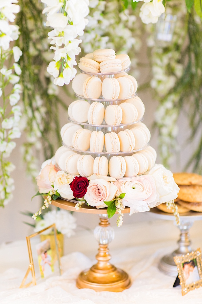 Macaron tower from an Elegant Spring Anniversary Party on Kara's Party Ideas | KarasPartyIdeas.com (29)