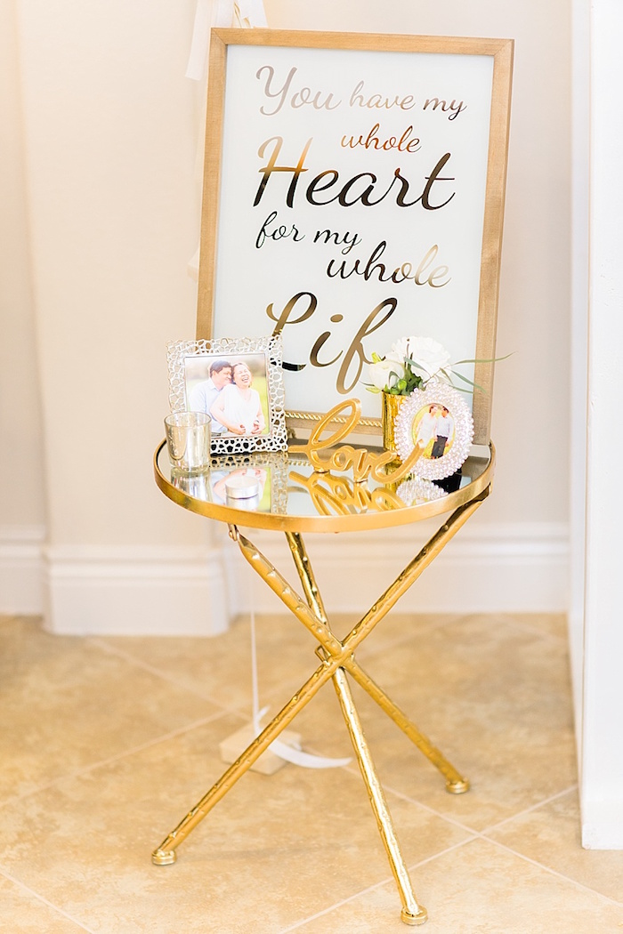 Gold party table from an Elegant Spring Anniversary Party on Kara's Party Ideas | KarasPartyIdeas.com (26)