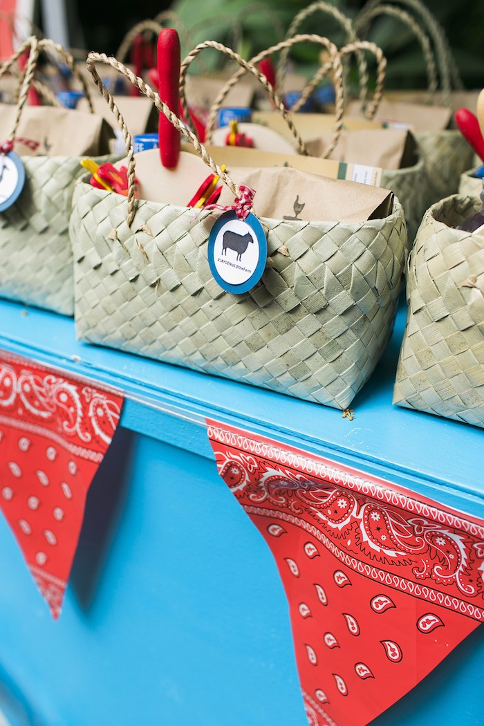 Favor baskets from a Farm Birthday Party on Kara's Party Ideas | KarasPartyIdeas.com (40)