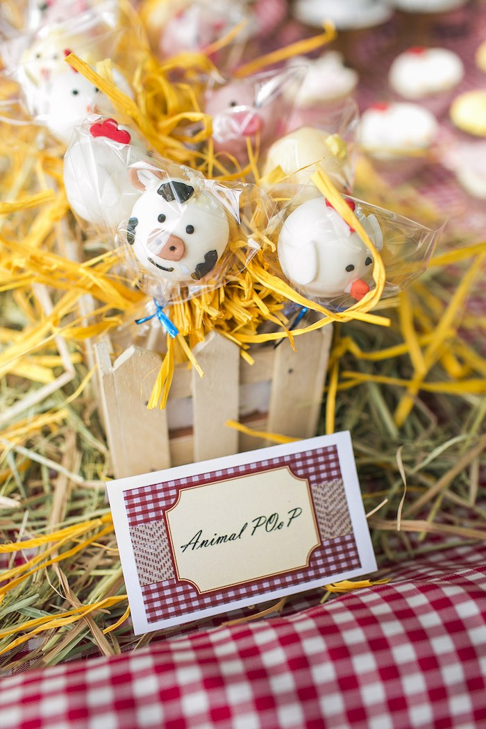 Farm animal cake pops from a Farm Birthday Party on Kara's Party Ideas | KarasPartyIdeas.com (34)
