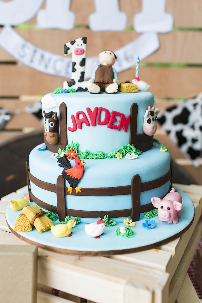 Farm cake from a Farm Birthday Party on Kara's Party Ideas | KarasPartyIdeas.com (32)