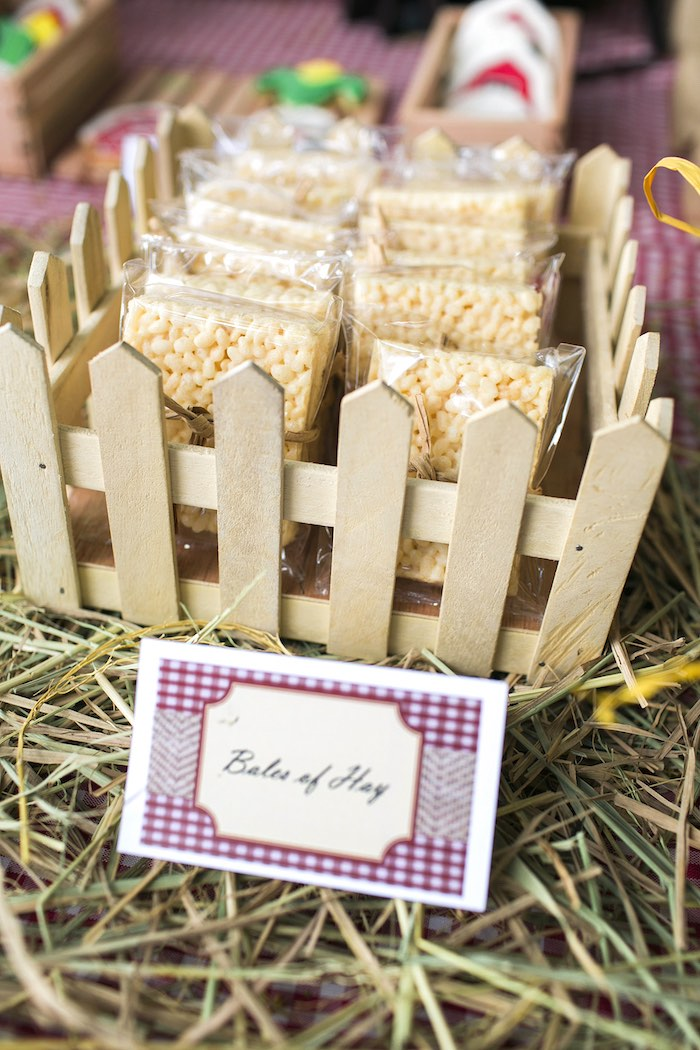 Hay bale krispies from a Farm Birthday Party on Kara's Party Ideas | KarasPartyIdeas.com (30)