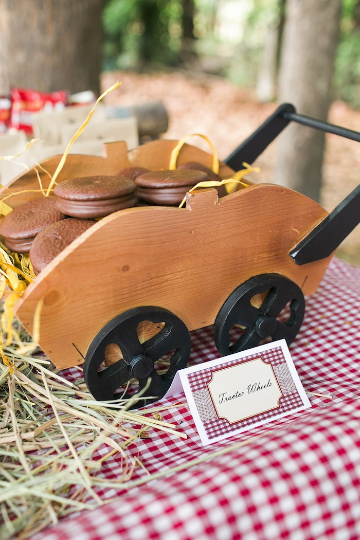 Macaron tractor wheels from a Farm Birthday Party on Kara's Party Ideas | KarasPartyIdeas.com (28)