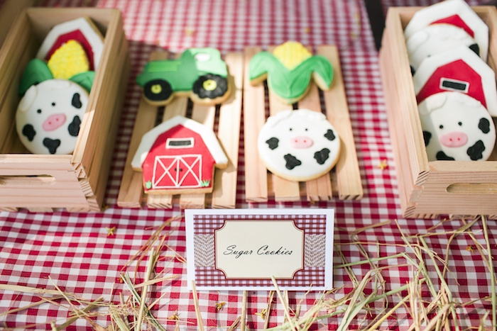 Farm sugar cookies from a Farm Birthday Party on Kara's Party Ideas | KarasPartyIdeas.com (27)