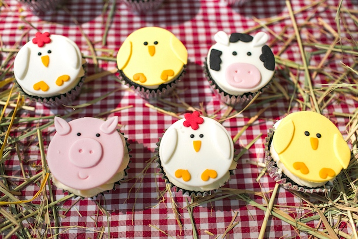 Farm animal cupcakes from a Farm Birthday Party on Kara's Party Ideas | KarasPartyIdeas.com (25)